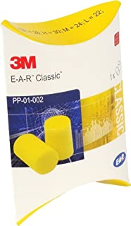 3M EAR Classic, lot de 50 paires de bouchons d'oreilles emballées par paires, jaune, protection = 28 dB