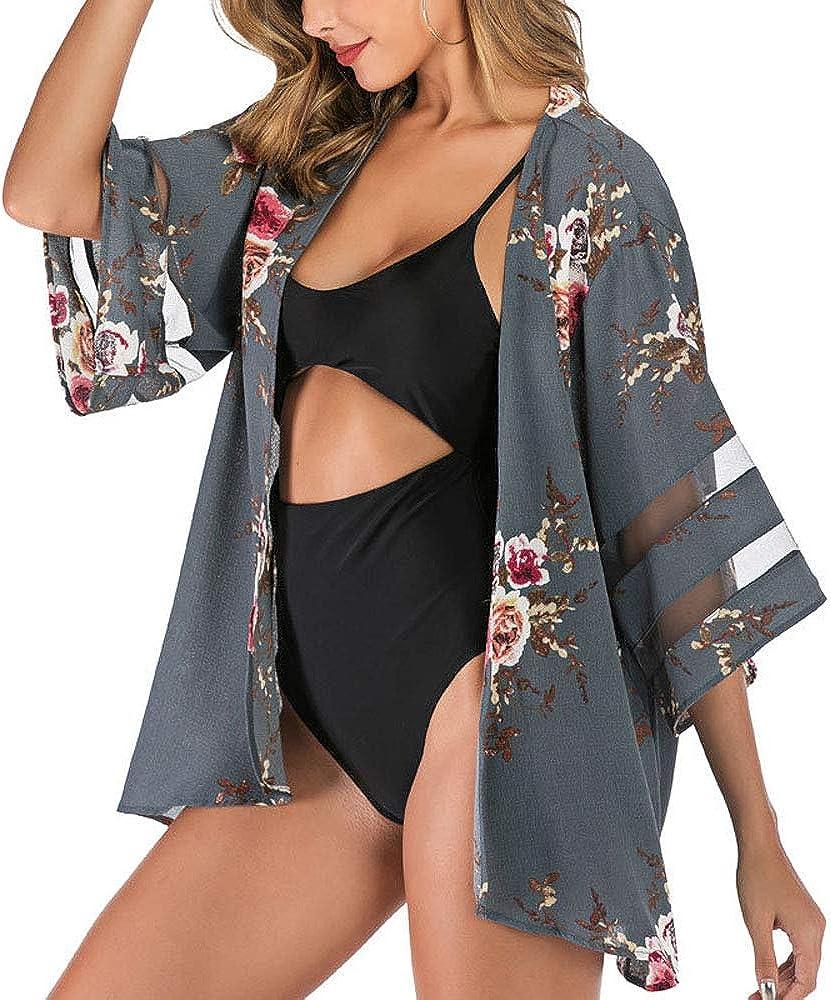 Women Mesh Panel Bell Sleeve Floral Chiffon Casual Loose Kimono Cardigan Capes