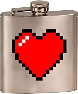8-Bit Heart Video Game - 3D Color Printed 6 oz. Stainless Steel Flask (Steel Silver)