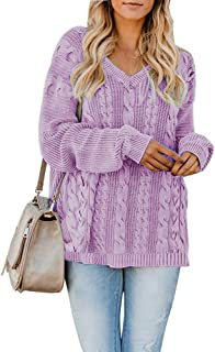 Yskkt Womens Pullover Sweaters Plus Size Cable Knit V Neck Lace Up Long Sleeve Fall Jumper Tops (XXXX-Large, ZPurple)