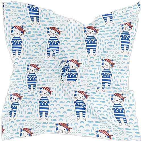N/A vrouwen Square Oblong zijde satijn sjaals piraat kat in blauw zeeman pak maritieme stijl hoofd sjaal sjaal