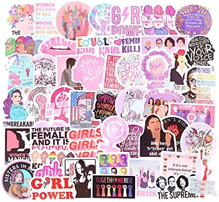270 Pieces Feminist Stickers Waterproof Women Power Stickers Feminism Party Supplies Stickers for Luggage Bicycle Mobile Phone Guitar DIY Decorations