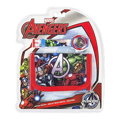 KIDS EUROSWAN Set Cadeau avec Horloge numérique et Portefeuille modèle Avengers, Composite, Multicolore, 25 x 7 x 20 cm