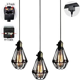 STGLIGHTING 3-Pack J-Type Track Light Pendants 1.6 Feet Cord Iron Birdcage Lampshade Restaurant Chandelier Decorative Customizable Industrial Factory Pendant Lamp Bulb Not Included