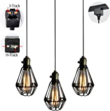 STGLIGHTING 3-Pack H-Type Track Light Pendants 4.9 Feet Cord Iron Birdcage Lampshade Restaurant Chandelier Decorative Chandelier Industrial Factory Pendant Lamp Bulb Not Included