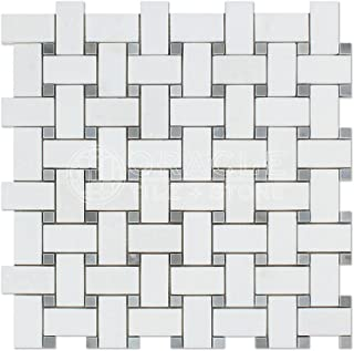 Thassos White Greek Marble Basketweave Mosaic Tile with Bardiglio Blue Gray Marble Dots, Polished