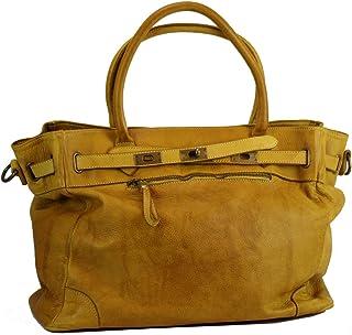 BZNA Bag Mila gelb vintage Italy Designer Business Damen Handtasche Ledertasche Schultertasche Tasche Leder Shopper Neu