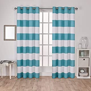 Exclusive Home Curtains Surfside Cabana Stripe Cotton Window Curtain Panel Pair with Grommet Top, 54x96, Teal, 2 Piece