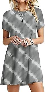 OMZIN - Vestido de mujer de manga corta, informal, de corte redondo, en tallas grandes, de 2XS a 5XL Yh-gris XL