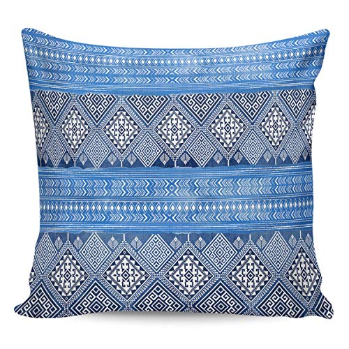 YOKOU Burlap Throw Pillow Case Unique National Geometry Pattern Square Sham Cushion Covers Pillow Protectors Home Decor for Car,Couch,Bed,Office, 24x24 inch