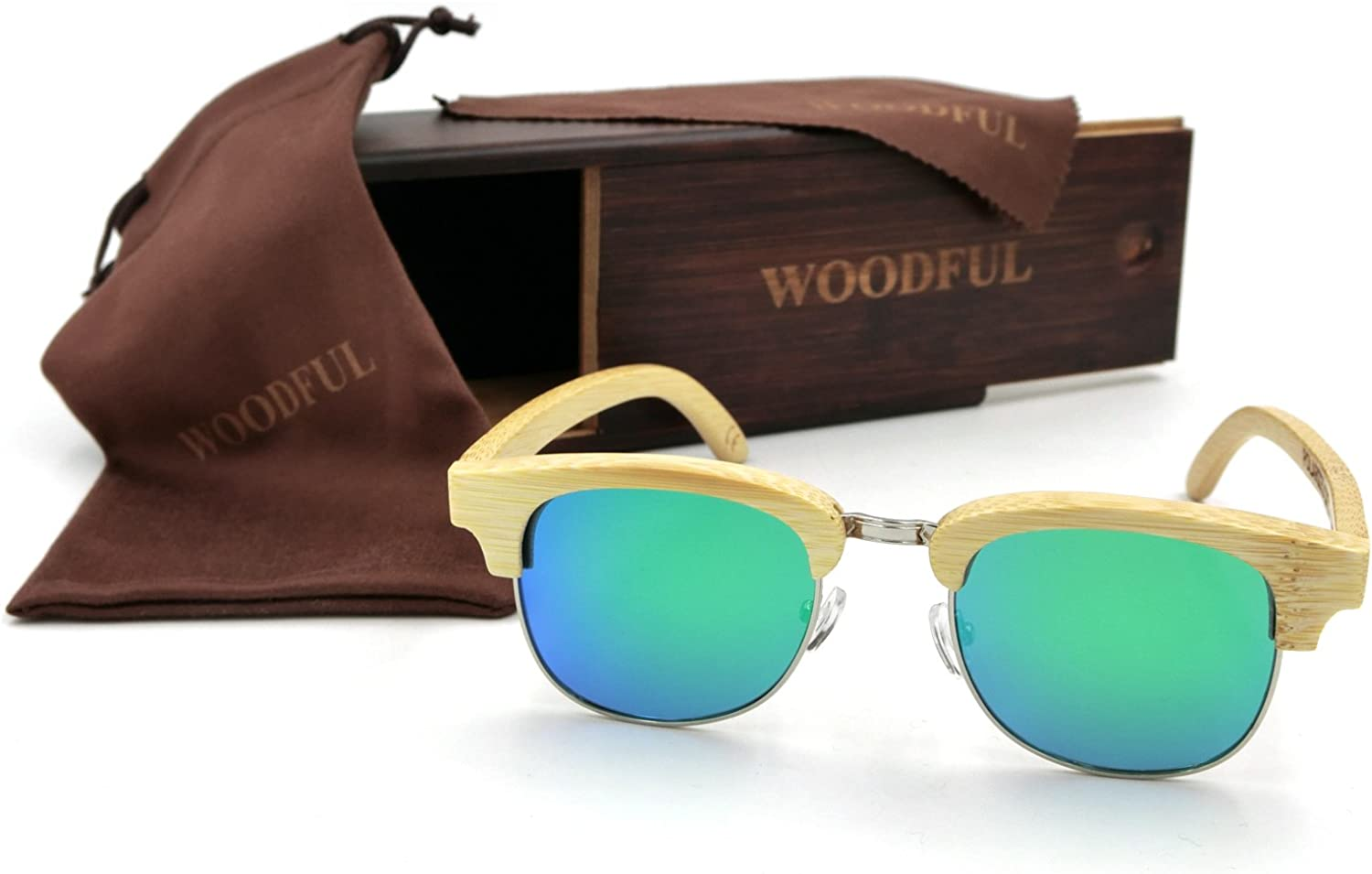 Half Bamboo Sunglasses Wood Frame Glasses with Sunglasses Case