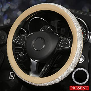 coofig New Girly Diamond Steering Wheel Cover,with Soft PU Leather Bling Bling Rhinestones,15