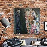 Gustav Klimt Reproducción de la muerte y la vida Pintura sobre lienzo Carteles e impresiones artísticos escandinavos Cuadro de pared Sala de estar 80x80cm (31.5x31.5in) Marco interno