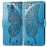 Bravoday Handyhülle für LG K40 Hülle, Stoßfest PU Leder Tasche Flip Hülle Schutzhülle für LG K40, mit Kartenfäch und Kickstand, Blau