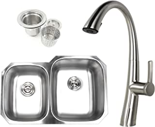 Kingsman 32 inch 18 Gauge Stainless Steel Undermount Double Bowl (40/60) Kitchen Sink (Sink and Faucet Combo)