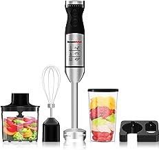 Bonsenkitchen Mixeur Plongeant, 4 en 1 Mixeur à Main Multifonction avec 9 Vitesses de Réglables, hachoir de 500ml, récipie...
