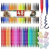Supchamp Pennarelli Doppia Punta, 48 Pennarelli Brush Pen Lettering con 6 Stencils, Punta Fine da 0.4mm e Punta a Pennello Libri da Colorare Disegnare Pittura Manga Bullet Journal