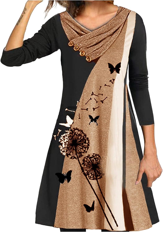 Long Sleeve Boho Dress for Women Loose Fitting Dandelion Print Graphic T-Shirts Tunic Dresses Lightweight Comfy Dress