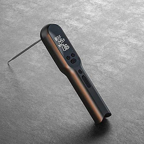 ZHB Termómetro para Carne, IPX7, Impermeable, Plegable, Digital, Lectura instantánea, perfiles de Carne, termómetro con Alarma de Beeper, batería Recargable USB