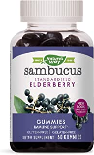 Nature's Way Sambucus Black Elderberry Gummies with Vitamin C and Zinc, 60 Gummies