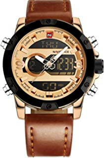 ساعة كاجوال للرجال من نافيفورس - بعقارب وسوار جلد طبيعي، NF9097 RG/CE/BN