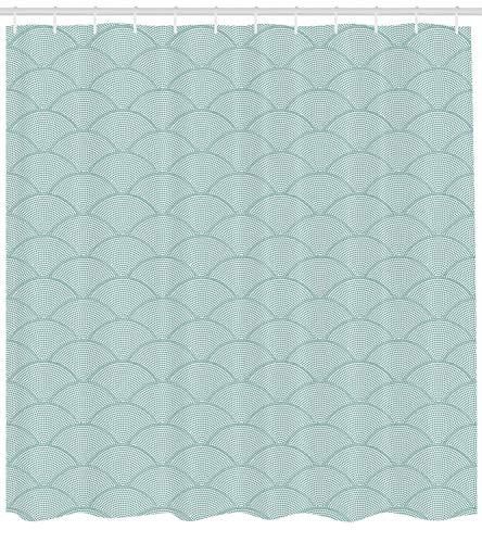 123456789 Geometrischer Duschvorhang, Halbkreis-Waage, Druck für Badezimmer