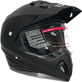 MMG 27V Helmet Dual Sport Off Road Motorcycle Dirt Bike ATV, FlipUp Visor, Medium, Matte Black