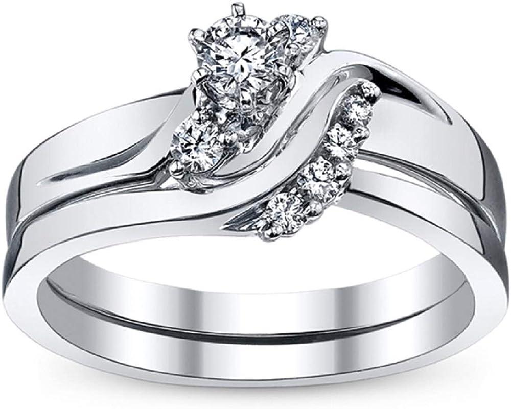 Columbus Mall TVS-JEWELS Engagement Ring SALENEW very popular for Women's Round Jewelry Cut Simulat