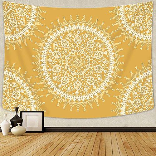 Arfbear Bohemian Tapestry, Mandala Hippie Popular Wall Hanging Tapestry Warm Golden Orange Beach Blanket