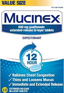 Chest Congestion, Mucinex Expectorant 12 Hour Extended Release Tablets, 68ct, 600 mg Guaifenesin with Extended Relief of Chest Congestion Caused by Excess Mucus. Thins and Loosens Mucus