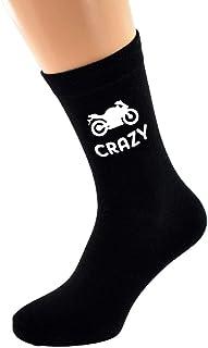 Motorbike Crazy with Motorbike Image Design Mens Black Cotton Rich Socks