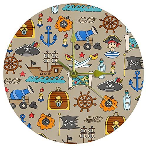 Yoliveya Reloj de pared redondo silencioso piratas aventuras decorativo sin garrapatas reloj silencioso para regalo en casa, oficina, cocina, guardería, sala de estar, dormitorio, 25 cm
