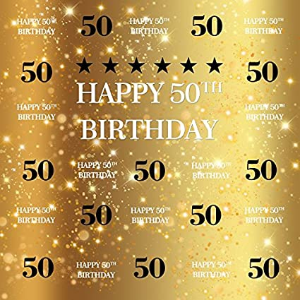 Yeele 6x6ft Happy 50th Birthday Photography Backdrop Gold Glitter Shiny Background for Pictures 50 Years Old Party Decoration Banner Photo Booth Shoot Vinyl Studio Props