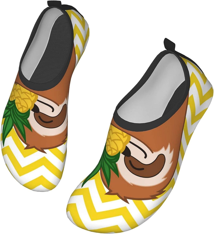 Pineapple Sloth Yellow Stripe Water Sports Shoes Barefoot Quick-Dry Aqua Yoga Socks Beach Swim Sports Surf Yoga Exercise for Unisex