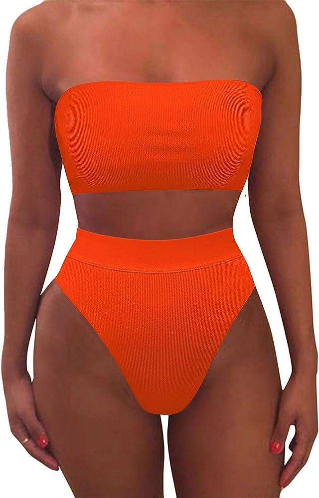 Viottiset, costume da bagno da donna a vita alta, due pezzi,  materiale: 82% nylon, 18% elastan 04-arancione