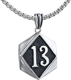 Large Heavy Lucky Number 13 Celtic Gothic Mens Stainless Steel Necklace + Rolo Chain