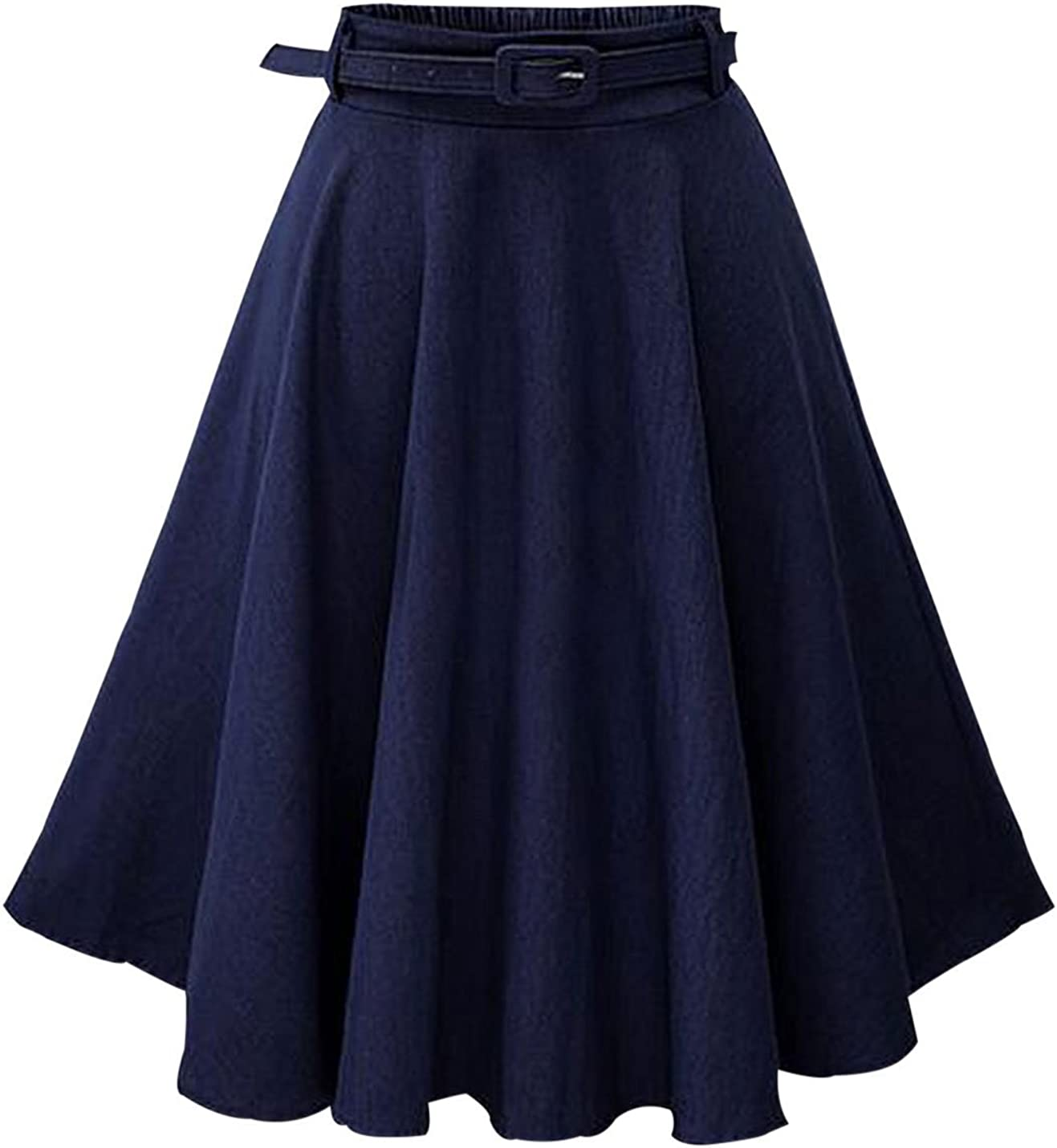 Yeokou Women's Casual Solid A Line Ruffle Pleated Belted Midi Long Denim Skirt