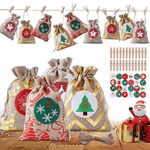 Herefun 24 Pezzi Natale Conto alla Rovescia Borsa in Stoffa Calendario Avvento DIY Sacchetti Juta di Adesivi Sacchetti per Regalo, Decorazioni Natalizie Corda di Canapa Regali per Bambini