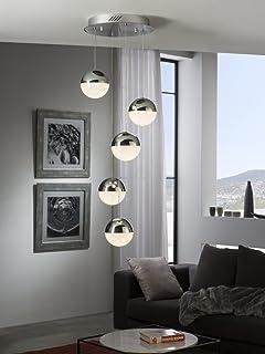 Schuller Sphere - Luminaire suspendu à LED intégré pour plafond suspendu, chrome