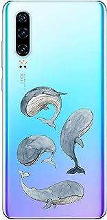 Suhctup Case Compatible con OnePlus 8 Funda Transparente Suave Silicona TPU Bumper Cárcasa Dibujos Animales Diseño Ultra Delgada Antigolpes de Protector Piel Cover,Delfín Azul