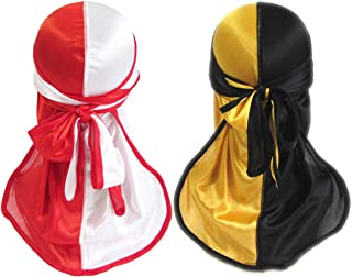 Silky Durag for Men Women Wave Cap Durags Two Tone 360 Waves with Long Tail Wide Straps Doo rags 2 PCS (red ang yellow)