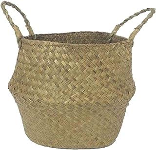 SODIAL Seagrass cesta de cesteria de mimbre plegable colgante maceta de flores maceta sucia de lavanderia cesto de almacen...