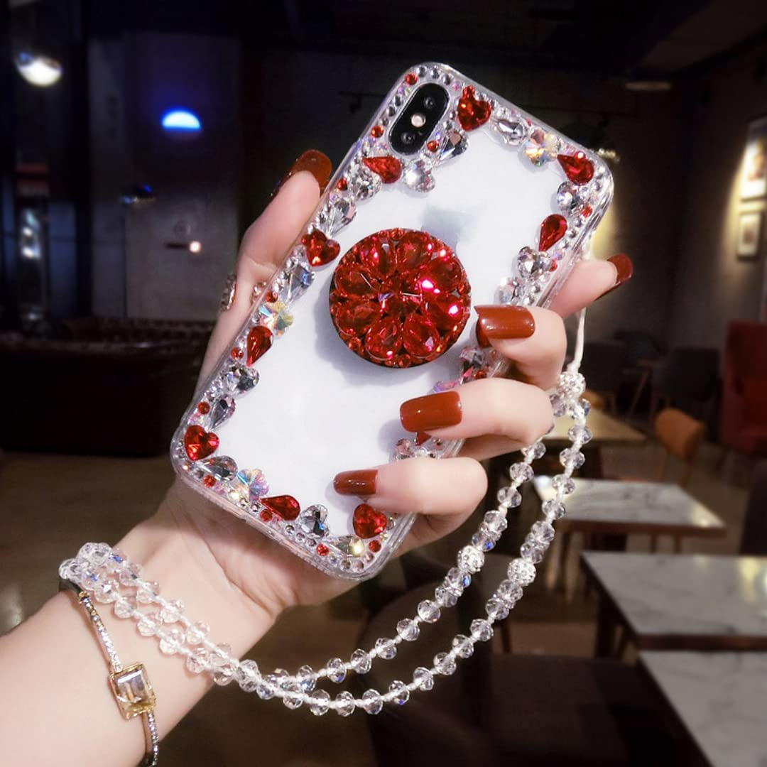 ISYSUII Diamond Glitter Case for iPhone 11 Pro with Ring Holder Kickstand Bling Rhinestone Crystal Cute Bling Case with Crossbody Strap Neck Lanyard Shockproof Protective Case,Red