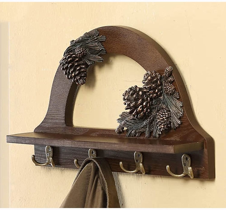 AIDELAI Coat Rack Coat Hanger Hook Creative Wooden Shelf Hook Wall Hanging Shelf Laminate Shelf