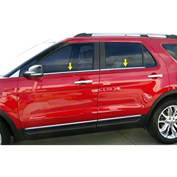 Works with 2003-2010 Ford Explorer 4PC Stainless Steel Chrome Window Sill Trim Overlay Made in USA