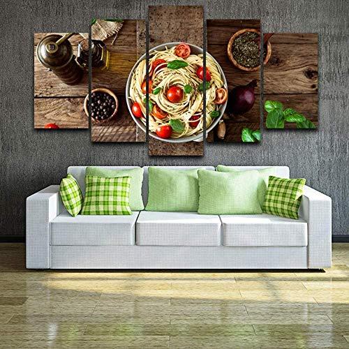 XIANGLL Leinwanddruck,5PC Panel Elegante HD-Druck Home Decor Leinwand Bilder Italienische Küche Pasta Olivenöl Knoblauch Gemälde Küchenposter Große Wandbehang