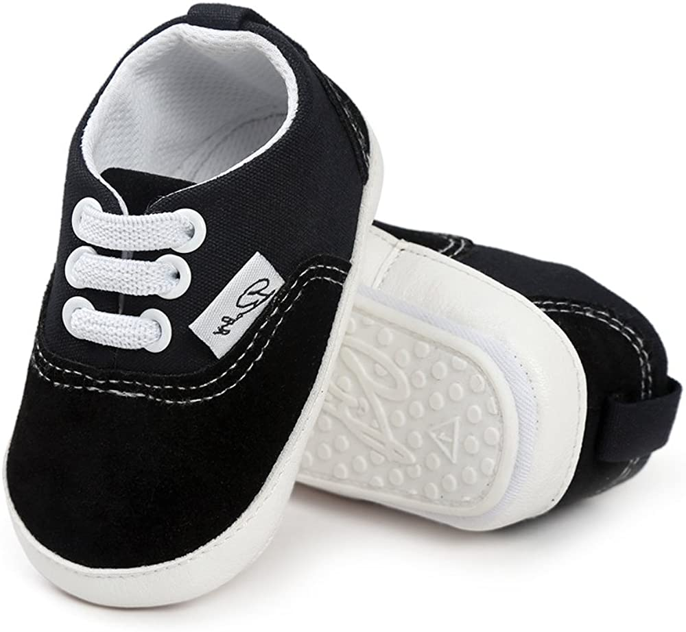 SOFMUO Baby Canvas Shoes - Infant Girls Boys Sneakers Anti-Slip Toddler First Walkers Slip On Newborn Crib Shoes