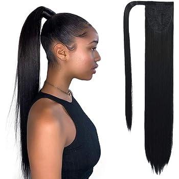 Imitation hair self wrapping wrap around ponytail ring