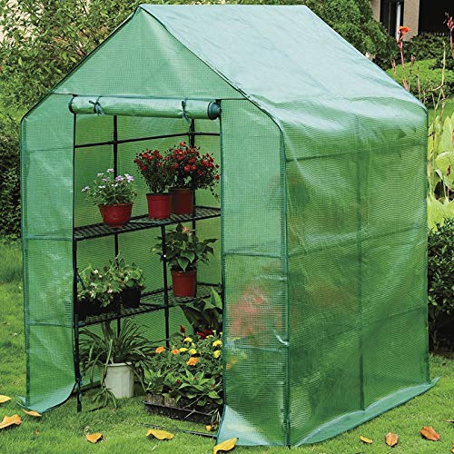 AMOS 3-Tier Portable Outdoor Garden Patio Walk-In Greenhouse with 8 Shelves and Removable Waterproof PE Cover 195 x 143 x 143cm (Green)