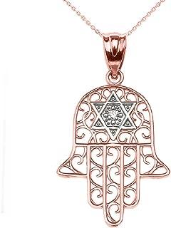 14k Rose Gold Hamsa Hand with Star of David Diamond Centered Pendant Necklace